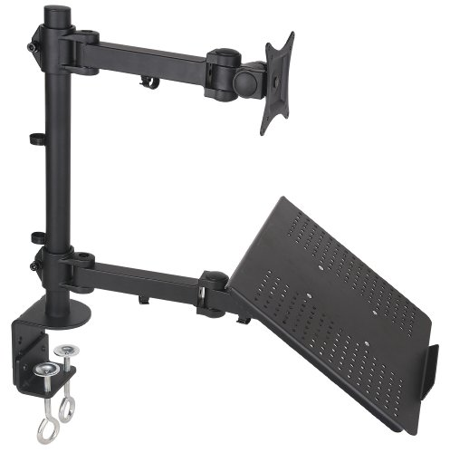 Dual Mount For 1 Laptop / Notebook & 1 Lcd Monitor, Desktop Mount / Stand, Black, Adjustable, Model Stand-V002C By Vivo
