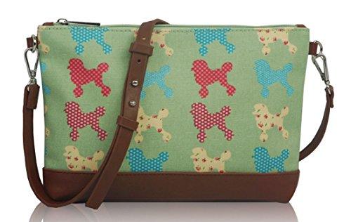 Kukubird Poodle Pattern Mini Size Crossbody Bag Handbag With Kukubird Dust Bag - Green