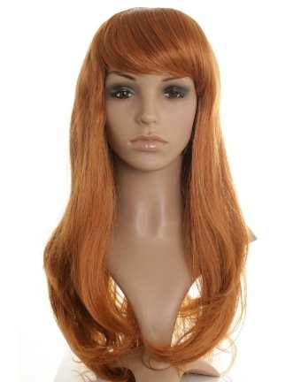 Long ginger/strawberry blonde/auburn ladies wig. Face frame style with long layers and eye length fringe! New!