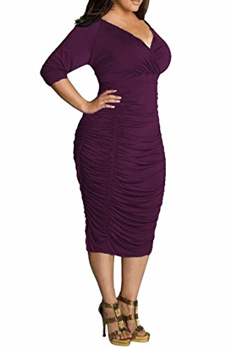 POSESHE Womens Plus Size Deep V Neck Wrap Ruched Waisted Bodycon Dress (XXL, Purple)