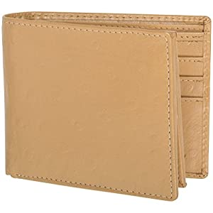 Access Denied Mens RFID Wallet Leather 10 Slots Stop Electronic Pickpocketing (Beige-Ostrich)