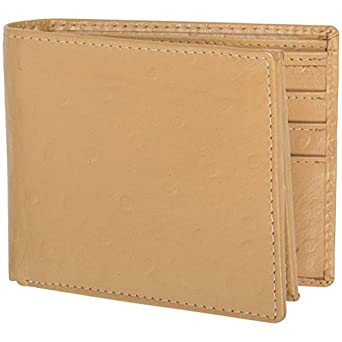 Access Denied Mens Genuine Leather RFID Blocking Secure Wallet 10 Card Slots ID Theft Protection (Beige-Ostrich)