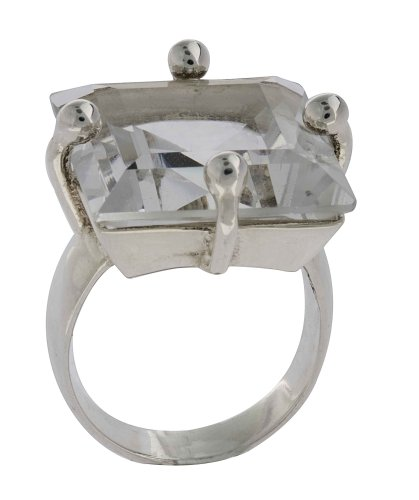 Squared Crystal Ring with Thin Band From the Crystal Collection Designed By Mauricio Serrano For Basic Jewelry