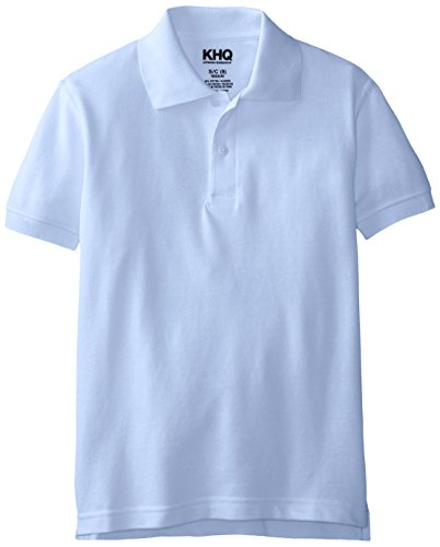KHQ Big Boys' Short Sleeve Pique Polo, Light Blue, Small