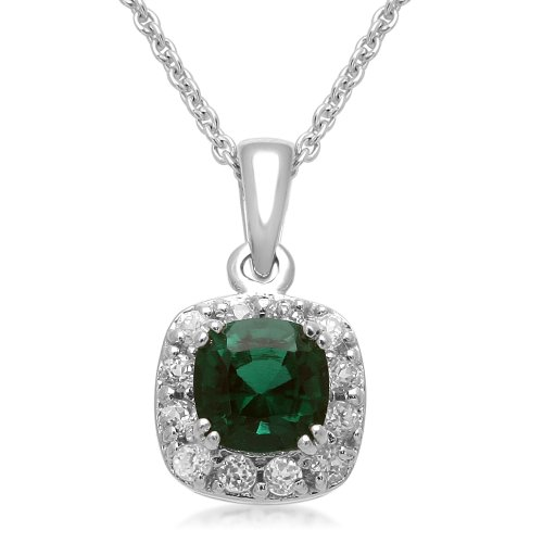 Sterling Silver Cushion-Cut Created Emerald Pendant Necklace, 18