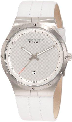 Johan Eric JE3001-04-001 - Reloj analógico de cuarzo para hombre con correa de piel, color blanco