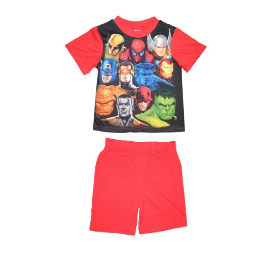 2 PCS SET: Marvel Heroes Boys Or Girls Sleepwear Pajama Short Sleeve Top & Shorts Set