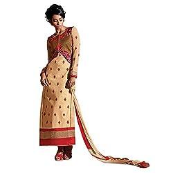 Pavani Women's Cotton Semi Stitched Dress Material (D1500041_Cream_Free Size)