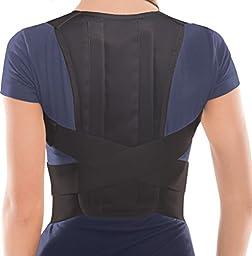 Comfort Posture Corrector Brace - Back/Shoulder Support - Black, Large, Waist/Belly 36\