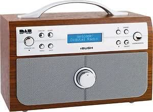 bush wood effect dab fm stereo radio with alarm clock kitchen home. Black Bedroom Furniture Sets. Home Design Ideas