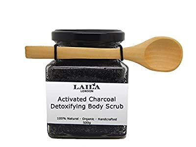 Activated Charcoal & Coconut Detox Body Scrub 100% Natural With Bamboo Spoon 350g Stretch Marks & Cellulite, Exfoliating Body Scrub - Soften Skin - Smooth Skin Before Tanning - Improve Circulation, Stimulate Collagen and Fight Aging - Reduce Ingrown Hairs
