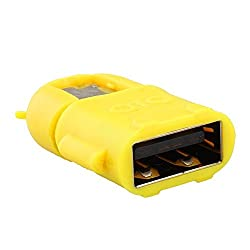 Trackswipe Android Shape OTG Adapter Micro USB OTG to USB 2.0 Adapter for Smartphones & Tablets (Yellow)