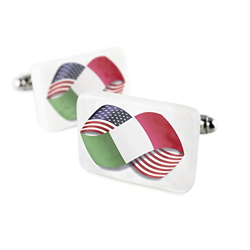 Cufflinks Infinity Flags USA and Italian Porcelain Ceramic NEONBLOND (Italian Flag Cufflinks compare prices)