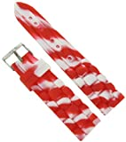 20mm Milano Trendy Silicone White and Red Waterproof Replacement Watch Band Strap