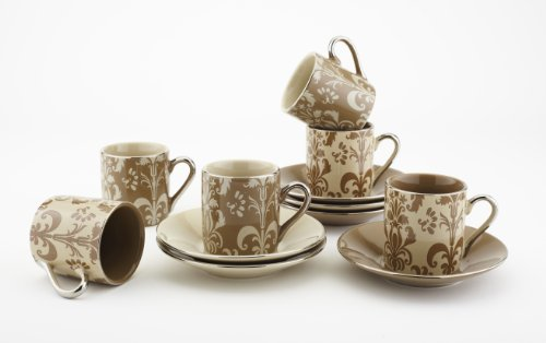 Yedi Houseware Porcelain Damask Demitasse Cups and Saucers, Mocha/Beige, Set of 6 (Turkish Coffee Cups compare prices)