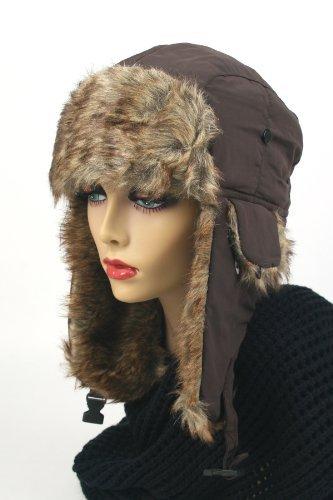 Women's Trapper Winter Ear Flap Hat P136 (Brown)