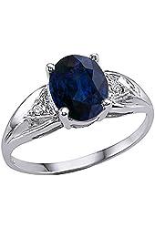 Tommaso Design Genuine Oval Sapphire Ring