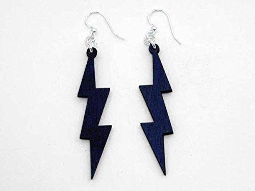 [Royal Blue Lightning Thunder Bolts Wooden Earrings Jewelry] (Thunder Lightning Costume)