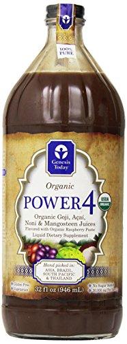 Genesis Today - Power4 - Mangosteen, Noni, Goji & Acai Liquid Dietary Supplement - 30g per 1oz Serving! ~ 32oz Glass Bottle (Genesis Today Goji Juice compare prices)