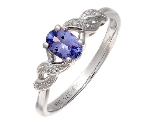 9ct White Gold Oval Tanzanite Ring with Pave Set Diamond Twist Shoulders - Size J