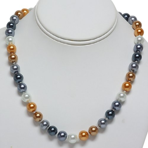 10mm 18 Inch Multi Color Double Knotted Glass Pearl Fashion Necklace Jewelry