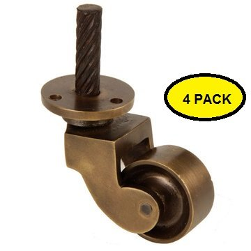 A29 Solid Brass Stem Caster, Antique Brass Finish, 4-pack 0
