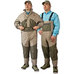 Caddis Mens Tan and Green Northern Guide Breathable Stocking Foot Wader with built in... by Caddis Wading Systems