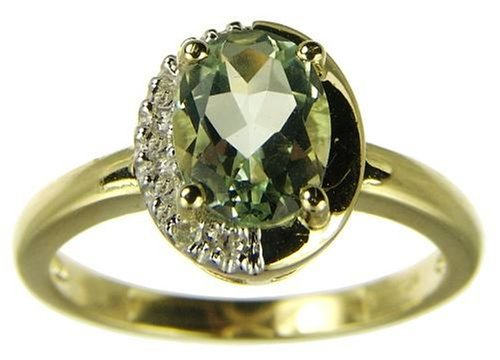 9ct Yellow Gold Ladies Oval Green Amethyst and Diamond Set Cluster Ring