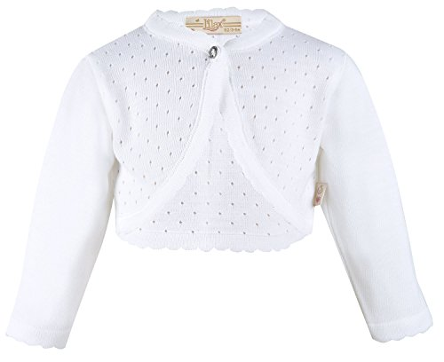 Lilax Baby Girls' Knit Long Sleeve One Button Closure Bolero Shrug 12-18 Months White