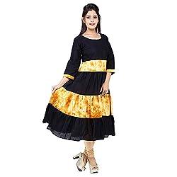 AnjuShree Choice Women's Black Cotton Frill Anarkali Kurti Kurta (M)