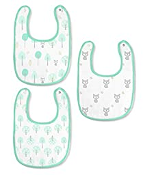 SwaddleDesigns Muslin Bib, Green Woodland , 3 Count