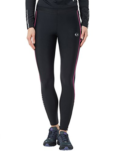 Ultrasport Women's Compression Effect and Quick-Dry-Function Long Running Pants - Black/Neon Pink, X-Large