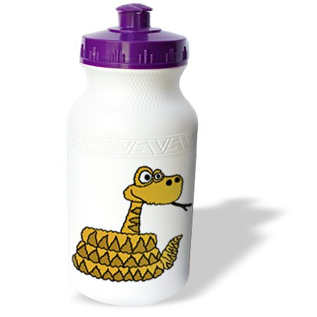 Wb_200173_1 All Smiles Art Reptiles And Amphibians - Cute And Funny Rattlesnake Cartoon - Water Bottles back-381368