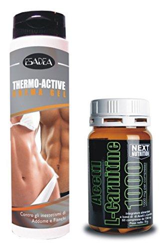 Kit Dimagrante : + 1 confezione Acetil L- Carnitina 60 compresse gr 78, + 1 confezione Thermo Active 200 ml Crema termogenica Addominali, termogenico, utile per dimagrire, perdere peso, bruciare grassi a scopo energetico