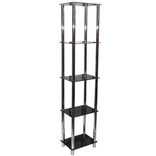 MATRIX - Metal + Glass 5 Tier Shelf Unit / Bookcase - Black + Chrome