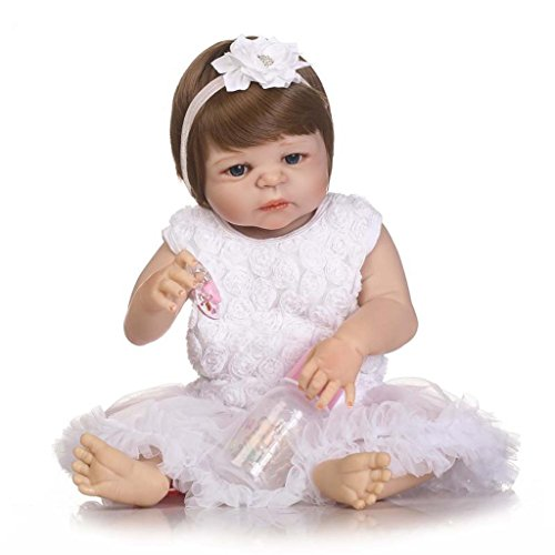 Terabithia 23 pouces Alive Truly Real Silicone Vinyl Full Body Reborn bébé Fille Poupées avec White Flower Headbands