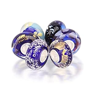 Bling Jewelry Assorted Royal Purple Murano Glass Bead Bundle .925 Sterling Silver Pandora Charm Compatible