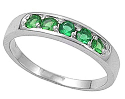 Childs Sterling Silver May Birthstone Ring (1)