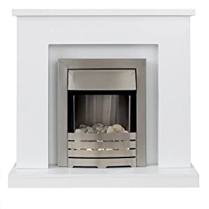 Adam Lomond White Surround with Brushed Steel Helios Electric Fire, 2000 Watt by Fired Up Corporation Ltd