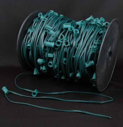 "Novelty Lights, Inc. C9-Mg30 Christmas Stringer Bulk Reel, Green Wire, 30"" Spacing, Intermediate Base (C9/E17), Spt-1 7 Amp Wiring, 1000' Reel (400 Sockets)"