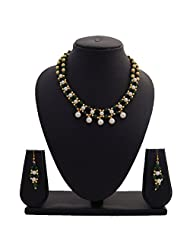 Nisa Pearls Traditional Pearls Necklace Set Adorned With CZ And Green Color Stones And Gold Color Beads