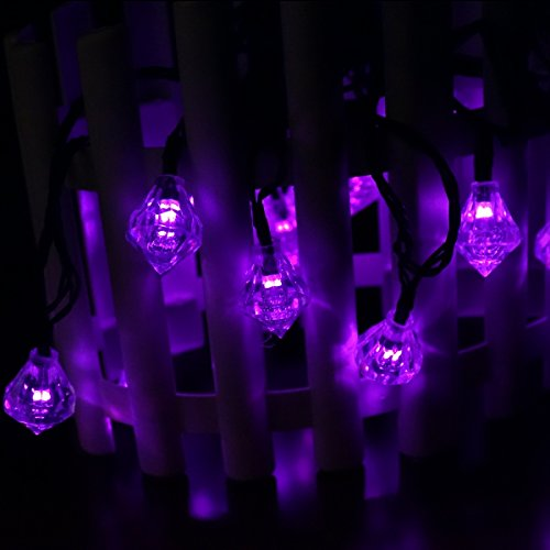 LED SopoTek 4.8meters 20Led bulbs Purple Color 8Modes Solar powered Led Christmas Lights Diamond ...