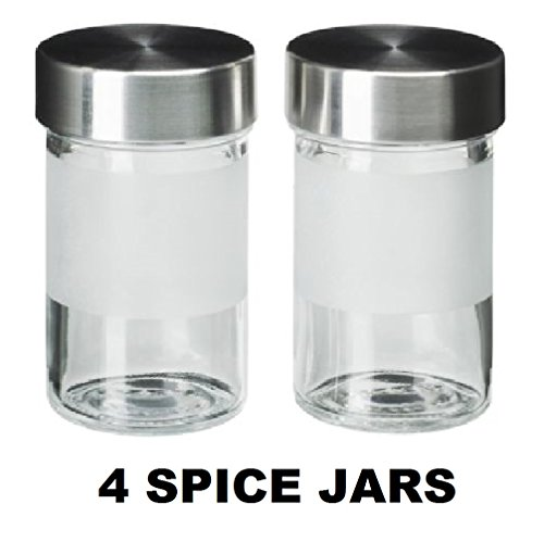 Ikea Spice Jars Droppar (4 Pack) Clear Glass with Frosted Detail, Stainless Lids 3 Oz