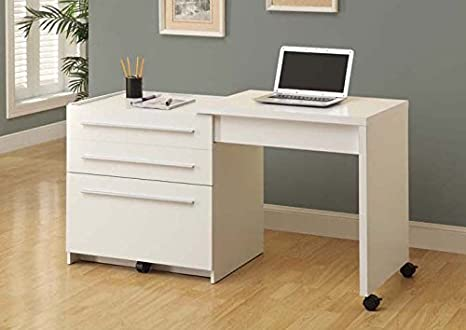 WHITE SLIDE-OUT DESK WITH STORAGE DRAWERS (SIZE: 30L X 22W X 30H)