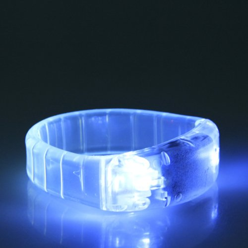 Pixnor Cool Sound Activated Led Glowing Bracelet Wristband For Party Disco Bar (New White)