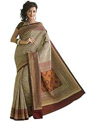 IndusDiva Raw Silk Beige Saree