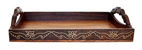 Souvnear wooden serving tray with handle brass work for Ornamental centrepiece for a dining table