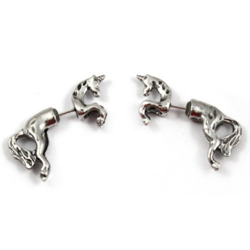 Zehui 1 Pair Cool Rock Punk Cute Unicorn Horse Ear Stud Wrap Earring Antique Silver