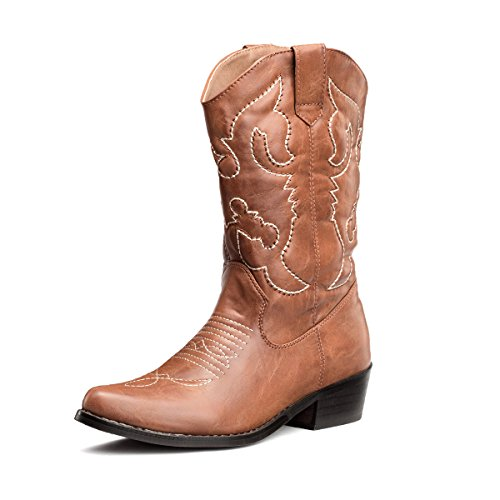 SheSole Womens Embroidered Western Cowboy Cowgirl Mid-Calf Wedding Boots Tan US 6