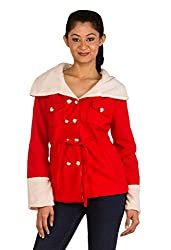 Modo Vivendi | Winter Warm Woolen Fur Coats for Women (Large, Red)